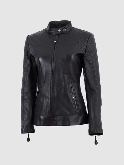 Cafe Racer Black Ladies Leather Jacket - Leather Jacket Shop