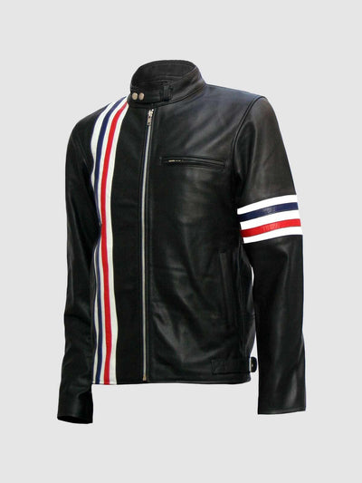 Captain America Biker Black Easy Rider Leather Jacket - Leather Jacket Shop