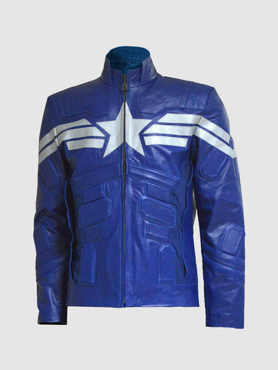 Captain America The Winter Soldier Blue Leather Jacket - Leather Jacket Shop
