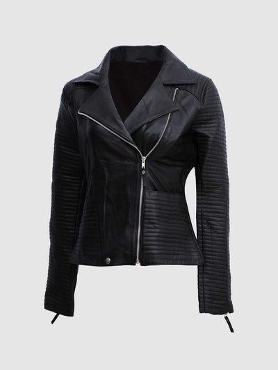 Classic Black Biker Female Jacket - Leather Jacket Shop