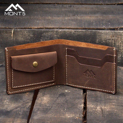 MONT5 Altit Dark Brown Handcrafted Slim Leather Wallet - Leather Jacket Shop