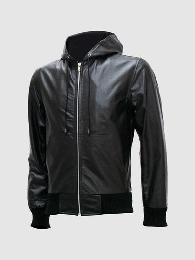 Exclusive Men's Black Leather Hoodie - Leather Jacket Shop