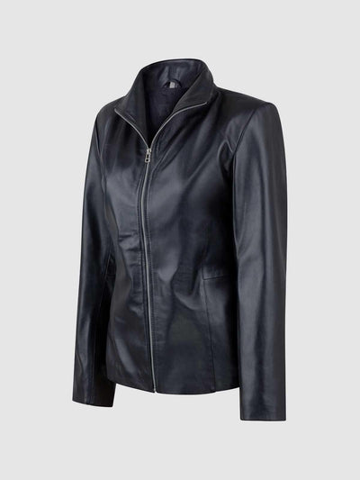 Female Black Leather Jacket with High Collar - Leather Jacket Shop