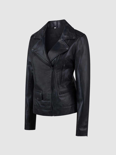 Female Black Sheepskin Leather Jacket - Leather Jacket Shop