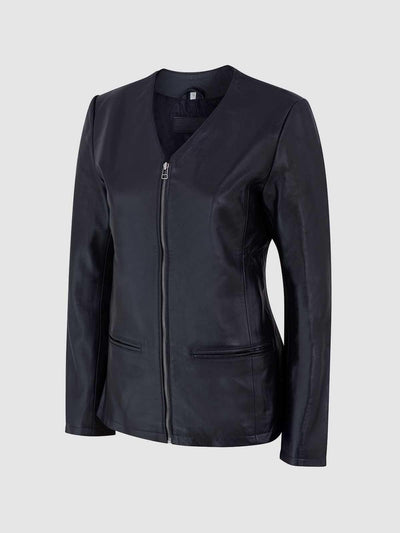 Female Black Slim Leather Jacket - Leather Jacket Shop