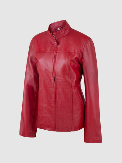 Female Light Red Leather Jacket - Leather Jacket Shop
