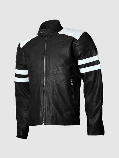 Fight Club Brad Pitt Black Leather Jacket - Leather Jacket Shop
