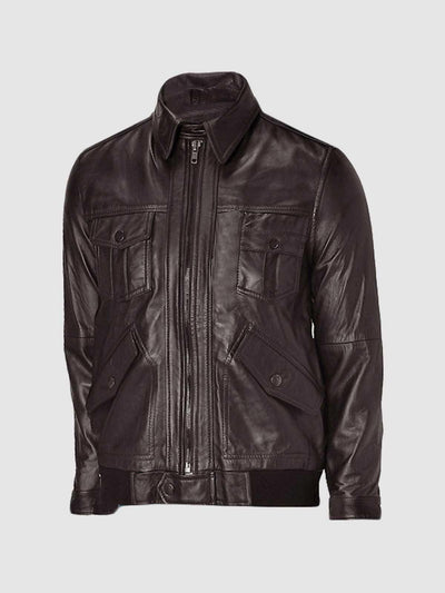 Flapper Style Brown Leather Bomber Jacket Men - Leather Jacket Shop
