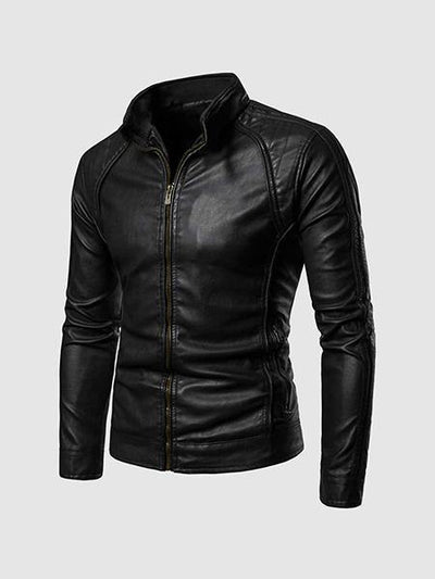 High Collar Leather Jacket Men - Leather Jacket Shop