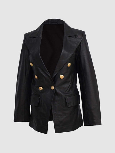 Kim Kardashian Double Breasted Coat - Leather Jacket Shop
