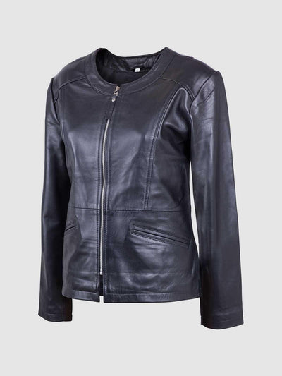 Ladies Collarless Sheepskin Leather Biker Jacket - Leather Jacket Shop