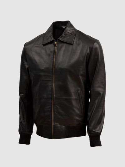 Lightweight Classic Men's Leather Bomber Sheep Jacket - Leather Jacket Shop