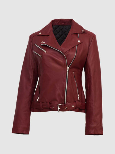 Maroon Biker Jacket for Women - Leather Jacket Shop