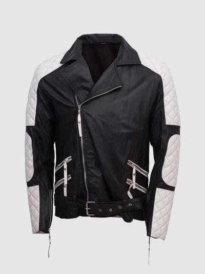 Men Black & White Leather Jacket - Equitazione - Leather Jacket Shop
