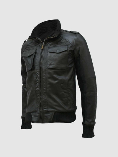 Black Leather Bomber Jacket Men - Leather Jacket Shop