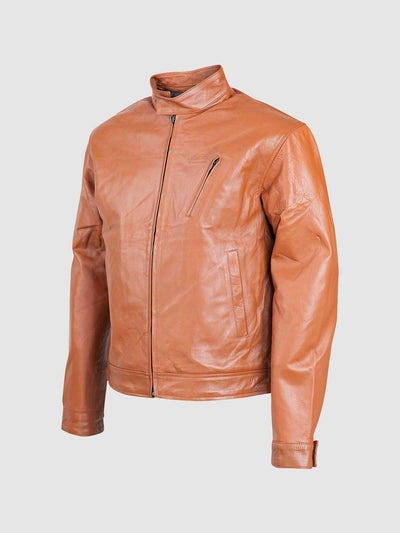 Minimal Tan Biker Leather Jacket - Leather Jacket Shop