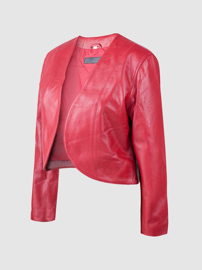 Modish Open Front Leather Jacket - Leather Jacket Shop