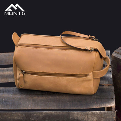 MONT5 Bagrot Tan Personalized Luxury Toiletry Bag - Leather Jacket Shop