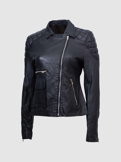 Quilted Shoulder Ladies Black Sheep Jacket - Leather Jacket Shop