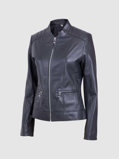 Sheep Leather Ladies Classic Biker Jacket - Leather Jacket Shop