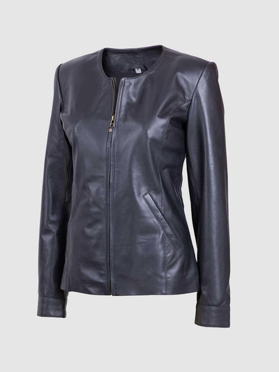 Lightweight Women Black Sheep Leather Collarless Jacket - Leather Jacket Shop