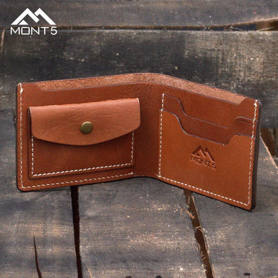 MONT5 Altit Tan Brown Handmade Minimalist Leather Wallet - Leather Jacket Shop