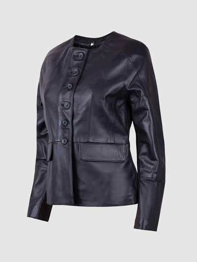 The Button Closure Leather Jacket - Leather Jacket Shop