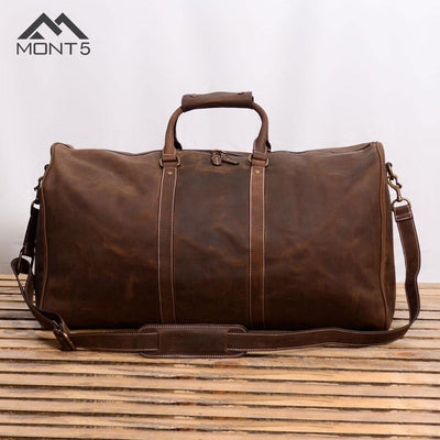 MONT5 Gokina Brown Extra Large Leather Weekend Bag - Leather Jacket Shop