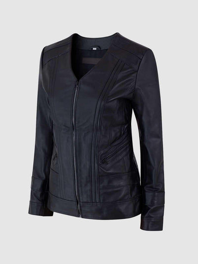 Women Classic Black Sheep Leather Slim Jacket - Leather Jacket Shop