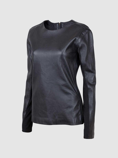 Women Black Collarless Leather Shirt Jacket - Leather Jacket Shop