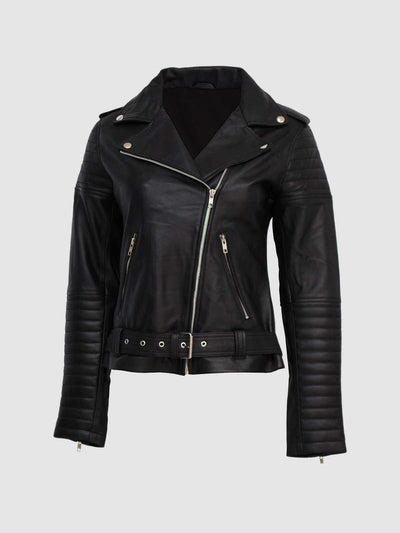 Women Leather Padded Biker Jacket - Leather Jacket Shop