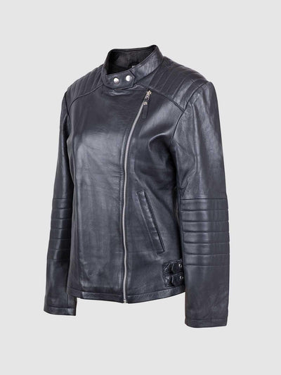 Women Quilted Moto Racer Sheep Leather Jacket - Leather Jacket Shop