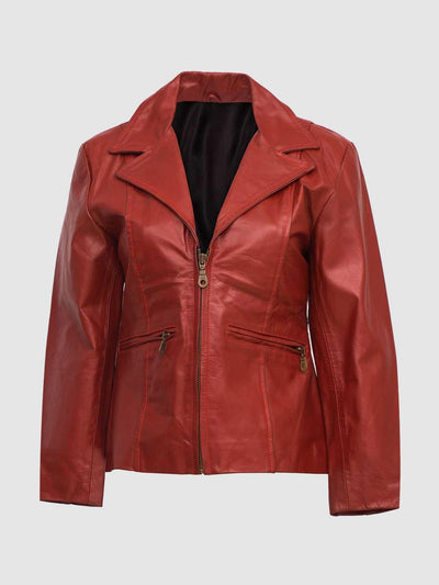 Women Red Leather Coat with Zip - Leather Jacket Shop