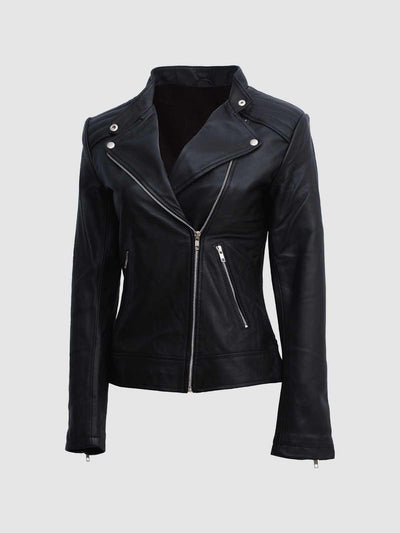 Women's Moto Leather Biker Jacket in Black - Leather Jacket Shop