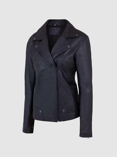 Women's Classic Black Leather Jacket - Leather Jacket Shop