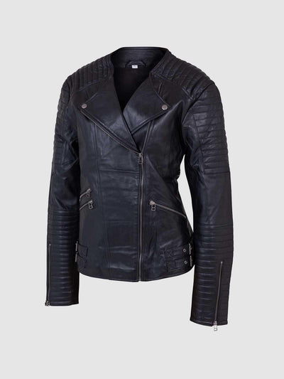 Women's Leather Quilted Jacket - Leather Jacket Shop