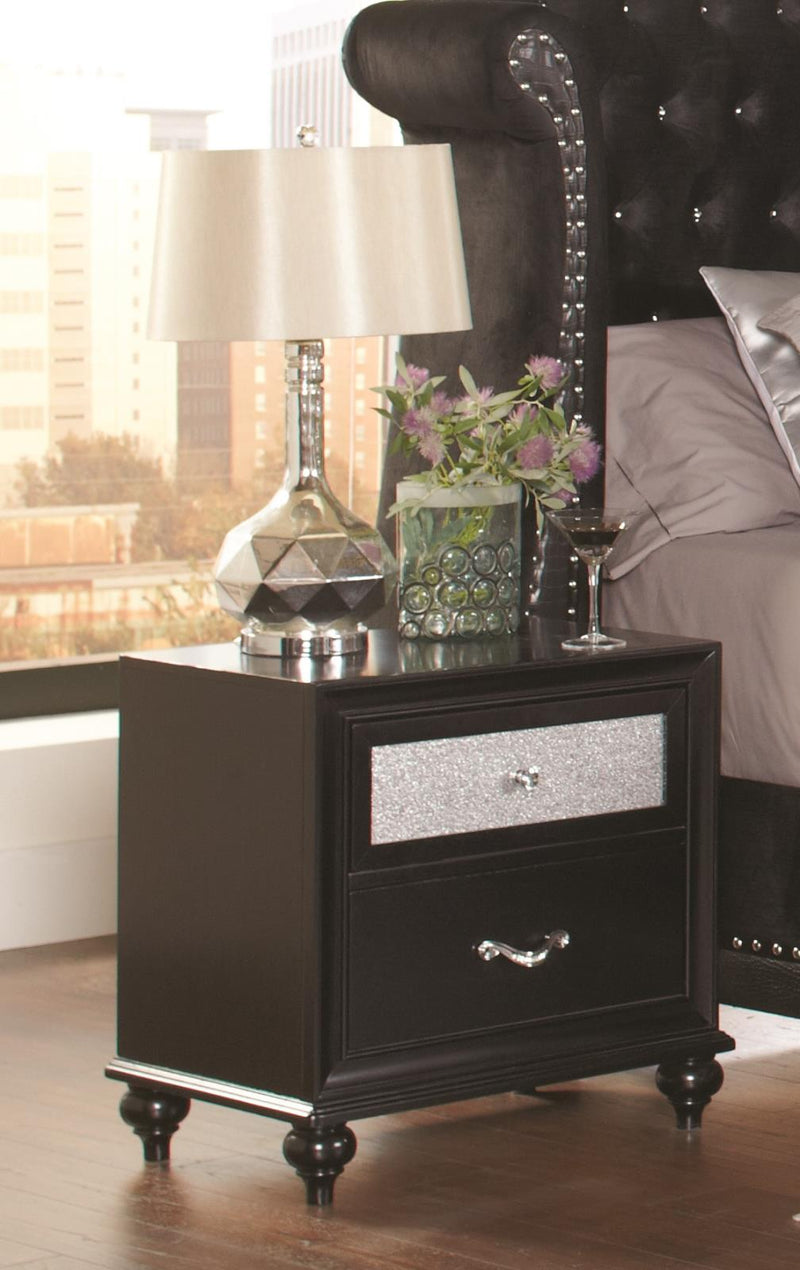 Barzini Two-Drawer Nightstand With Metallic Drawer Front image