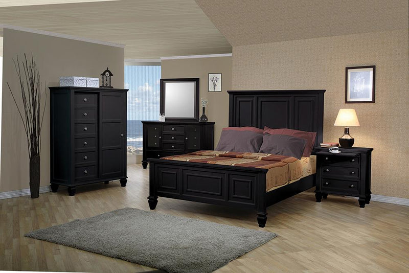 G201321Q-S5 Sandy Beach Black Queen Five-Piece Bedroom Set image