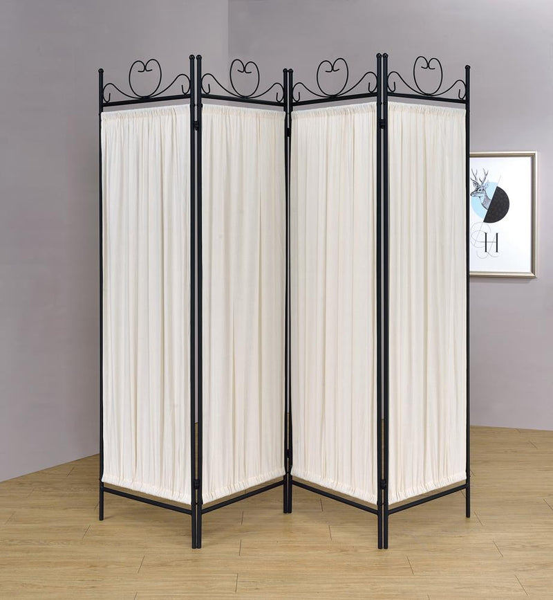 Traditional Black and Gold Four-Panel Folding Screen image