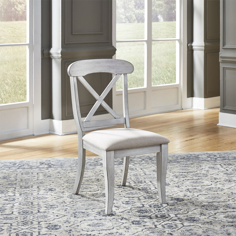 Liberty Furniture Ocean Isle Upholstered X Back Side Chair (RTA) in Antique White with Weathered Pine (Set of 2) 303W-C3001S image