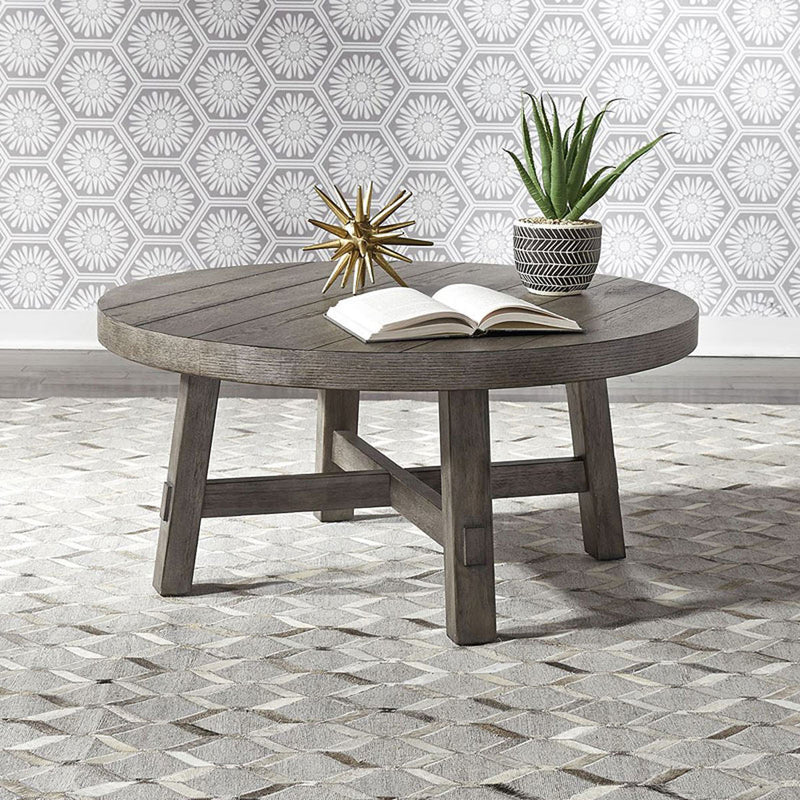 Liberty Furniture Modern Farmhouse Splay Leg Round Cocktail Table in Dusty Charcoal 406-OT1013 image