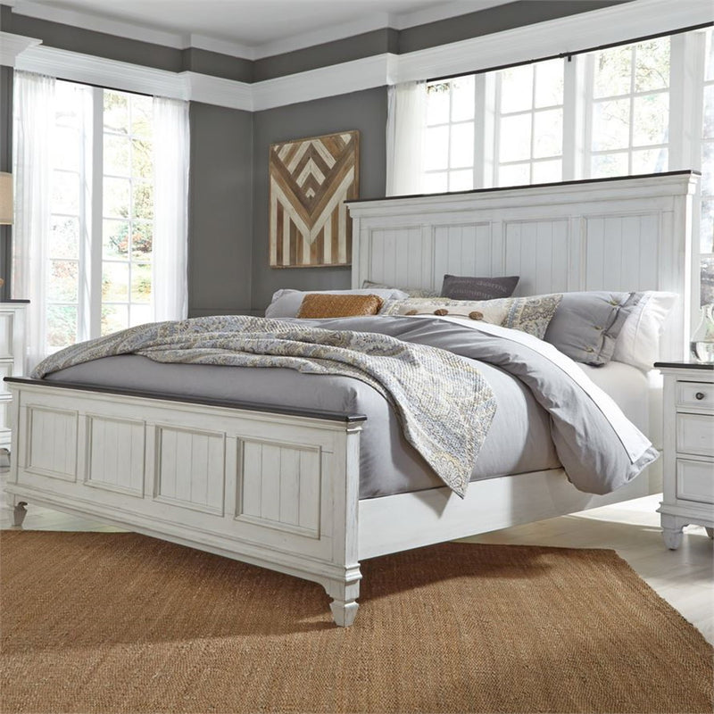 Liberty Furniture Allyson Park California King Panel Bed in Wirebrushed White image