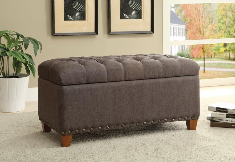 Tufted Mocha Storage Bench image