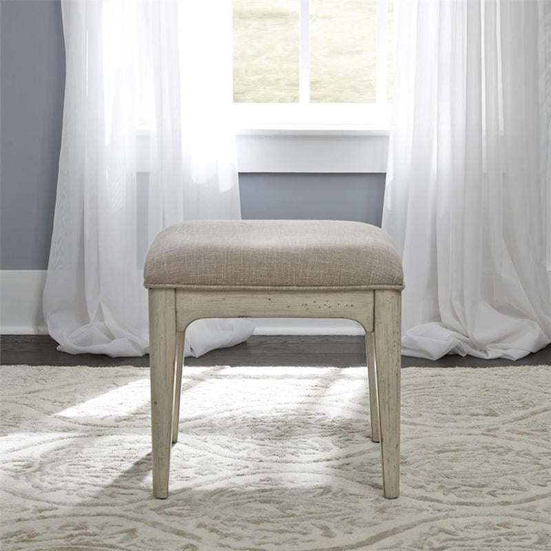 Liberty Furniture Farmhouse Reimagined Vanity Stool in Antique White 652-BR99 image