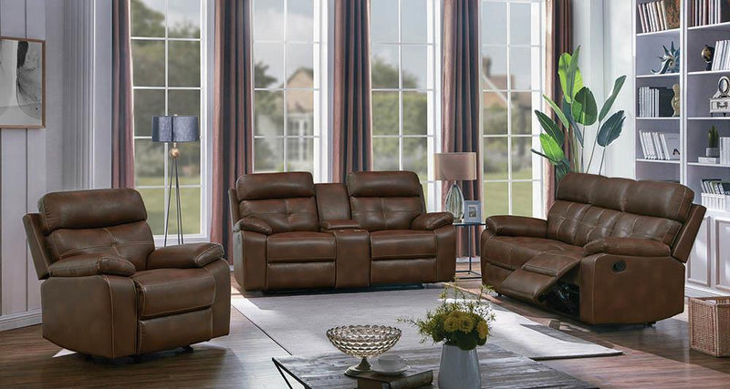 Zimmerman Brown Faux Leather Three-Piece Living Room Set image