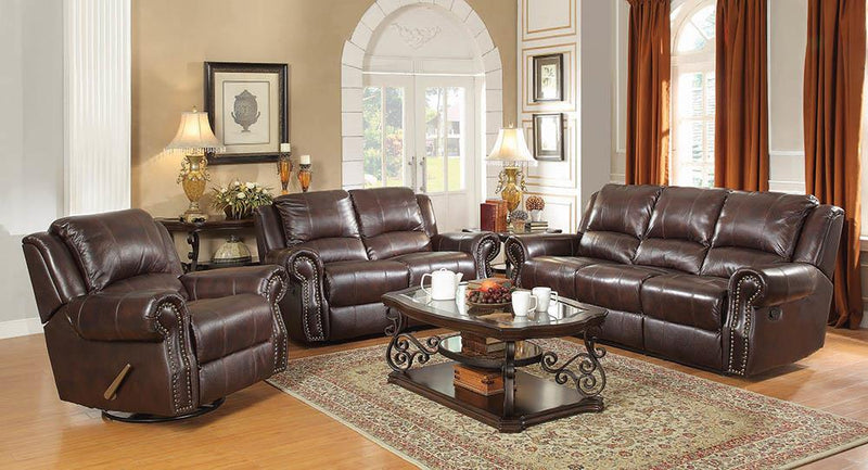 Sir Rawlinson Burgundy Brown Motion Sofa, Loveseat and Recliner image