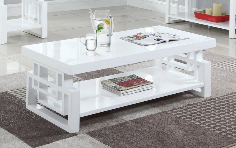 Transitional Glossy White Coffee Table image