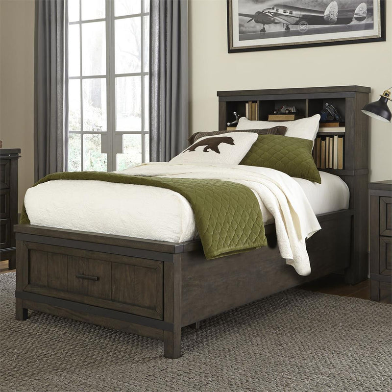 Liberty Furniture Thornwood Hills Full Bookcase Bed in Rock Beaten Gray 759-YBR-FBB image