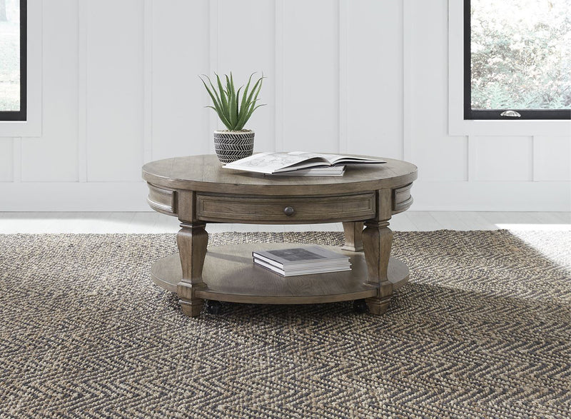 Liberty Harvest Home Round Cocktail Table in Barley Brown 779-OT1011 image