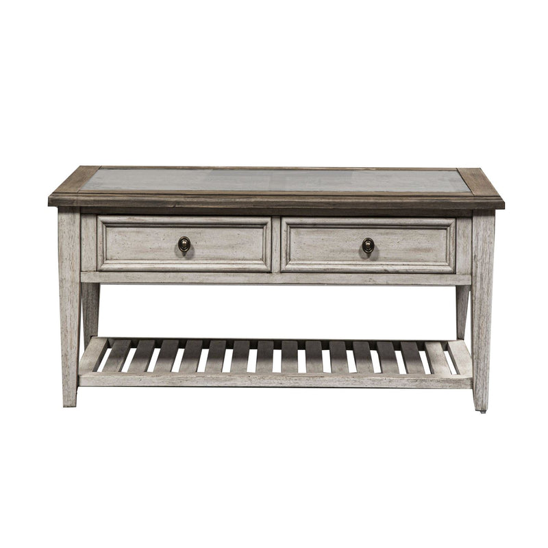 Liberty Heartland Rect Ceiling Tile Cocktail Table in Antique White 824-OT1010 image